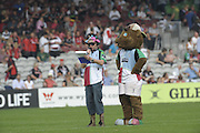 Twickenham, GREAT BRITAIN,  Pre game entertainment, left Mad Max, right Harley, [Harlequins Mascot] before the Guinness Premiership game Harlequins vs Saracens. at The Stoop Stadium, Surrey on Sat. 19.09.2009.  [Photo. Peter Spurrier/Intersport-images]