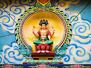27 MARCH 2012 - HO CHI MINH CITY, VIETNAM:  A statue of the Hindu deity Birman in the Mariamman Hindu Temple in Ho Chi Minh City, Vietnam. The temple was built by Indian migrants who came to Vietnam (then Indochina) in the 19th century. The Indian migrants established themselves as the city's bankers and money changers. Most fled during Vietnam's 25+ years of war from the 1950's to 1975. Ho Chi Minh City, which used to be known as Saigon, is the largest city in Vietnam and the commercial hub of southern Vietnam.      PHOTO BY JACK KURTZ