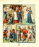 Ancient European fashion and lifestyle, Middle Ages from Geschichte des kostums in chronologischer entwicklung (History of the costume in chronological development) by Racinet, A. (Auguste), 1825-1893. and Rosenberg, Adolf, 1850-1906, Volume 3 printed in Berlin in 1888