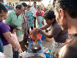 Stall selling prawns at Chapora port, Goa