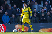 Swansea City goalkeeper Kristoffer Nordfeldt (1) during the EFL Sky Bet Championship match between Queens Park Rangers and Swansea City at the Loftus Road Stadium, London, England on 13 April 2019.