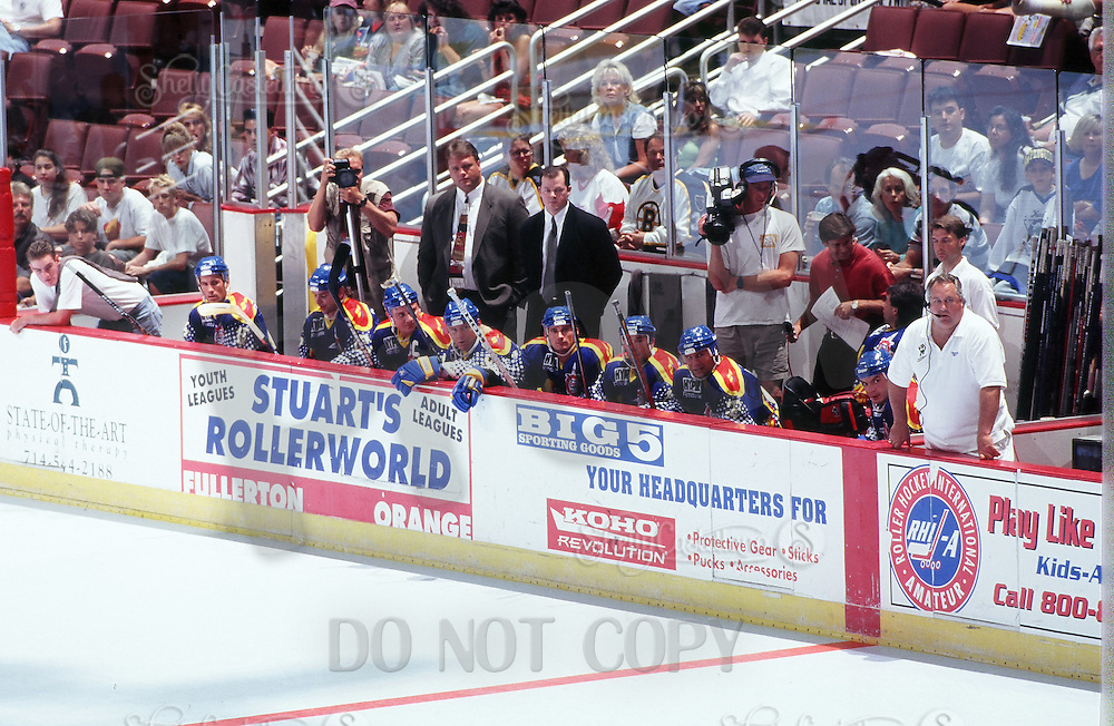 1996: RHI Allstar Game. East players on the bench during a Roller Hockey International RHI indoor inline hockey game at the Pond. Tony Szabo, Jim Fox, Chipper.  Original image scan from negative, print or transparency.  Image is available for personal or editorial use only.