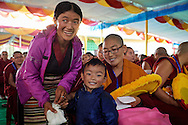 Namdol Phuntsok (best results at Geshema examination) from Kopan Nunnery (from Tibet) with relatives at Drepung Lachi in Mundgod, Karnataka, India on December 22, 2016.