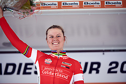 Amalie Dideriksen (DEN) earns the most combative rider jersey at Boels Ladies Tour 2019 - Stage 3, a 156.8 km road race starting and finishing in Nijverdal, Netherlands on September 6, 2019. Photo by Sean Robinson/velofocus.com
