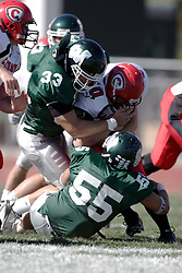 07 October 2006: Tyson Mengel is stopped by Steve Groetsema (33) and Mike Mastro (55). The Titans of Illinois Wesleyan University started off strong with a touchdown on the 2nd play from scrimmage in the game.  The Titans led most of the way, but failed to maintain the lead in the 4th quarter giving up the decision of this CCIW conference game to the Red Men of Carthage by a score of 31 - 28. Action was at Wilder Field on the campus of Illinois Wesleyan University in Bloomington Illinois.<br />