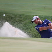 Jason Day, Australia, chips out of the bunker on the seventeenth hole during the final round while winning the The Barclays Golf Tournament by six shots at The Plainfield Country Club, Edison, New Jersey, USA. 30th August 2015. Photo Tim Clayton