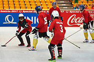Graz, Austria - 2017 March 18: SO Russia (blue helmets) compete with SO Bangladesh (white helmets) in Floor Hockey while Special Olympics World Winter Games Austria 2017 at Convention Centre Messe Graz on March 18, 2017 in Graz, Austria.<br /> <br /> Mandatory credit:<br /> Photo by © Adam Nurkiewicz / Mediasport<br /> <br /> Adam Nurkiewicz declares that he has no rights to the image of people at the photographs of his authorship.<br /> <br /> Picture also available in RAW (NEF) or TIFF format on special request.<br /> <br /> Any editorial, commercial or promotional use requires written permission from the author of image.<br /> <br /> Image can be used in the press when the method of use and the signature does not hurt people on the picture.
