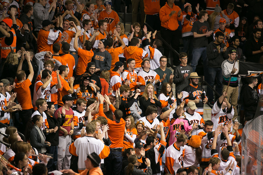 The Corner Crew celebrates RIT's third goal in the first period during a game against Brock University at the Gene Polisseni Center on Saturday, October 4, 2014.