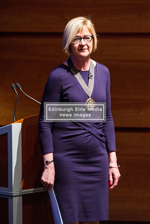 Pictured: Fiona Morrison, President, Institute and Faculty of Actuaries welcomed the panel and delegates to the debate<br /> <br /> The Institute and Faculty of Actuaries hosted a flagship European Union referendum debate for around 250 delegates in Edinburgh tonight. Speakers at the event were Matthew Anderson, member of the Advisory Board - Britain Stronger in Europe, Jim Sillars, former deputy leader of the SNP, Jo Shaw, Salvesen Chair of European Institutions, Nigel Griffiths, Labour Leave Scotland and former deputy leader of the House of Commons Nigel Griffiths and  David Bell, Professor of Economics, University of Stirling.<br /> Ger Harley | EEm 5 April 2016