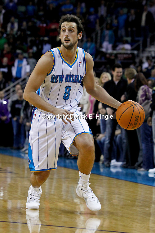 January 29, 2012; New Orleans, LA, USA; New Orleans Hornets shooting guard Marco Belinelli (8) against the Atlanta Hawks during the first half of a game at the New Orleans Arena.   Mandatory Credit: Derick E. Hingle-US PRESSWIRE