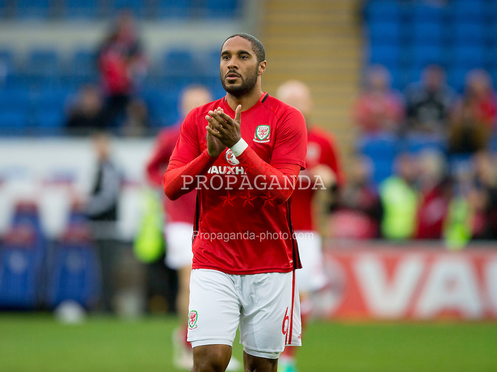 CARDIFF, WALES - Monday, September 5, 2016: Wales'  Ashley Williams before the 2018 FIFA World Cup Qualifying Group D match against Moldova at the Cardiff City Stadium. (Pic by Paul Currie/Propaganda)