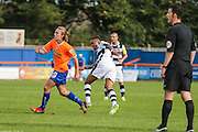 Forest Green Rovers Keanu Marsh-Brown (7) shoots at goal scores a goal 0-1 during the Vanarama National League match between Braintree Town and Forest Green Rovers at the Amlin Stadium, Braintree, United Kingdom on 24 September 2016. Photo by Shane Healey.