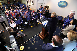 March 16, 2020, Washington, District of Columbia, USA: United States President DONALD J. TRUMP points to a journalist asking a question during a press conference with members of the coronavirus task force in the Brady Press Briefing Room of the White House in Washington, DC. (Credit Image: © Oliver Contreras/CNP via ZUMA Wire)