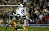 Leeds - Monday October 19th, 2009: Jermaine Beckford (R) of Leeds United and Adam Drury of Norwich City during the Coca Cola League One match at Elland Road, Leeds. (Pic by Paul Thomas/Focus Images)..
