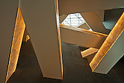 Alabaster clad ramps, lit from the interior, of the Canadian Museum for Human Rights (CMHR)<br /> Winnipeg<br /> Manitoba<br /> Canada