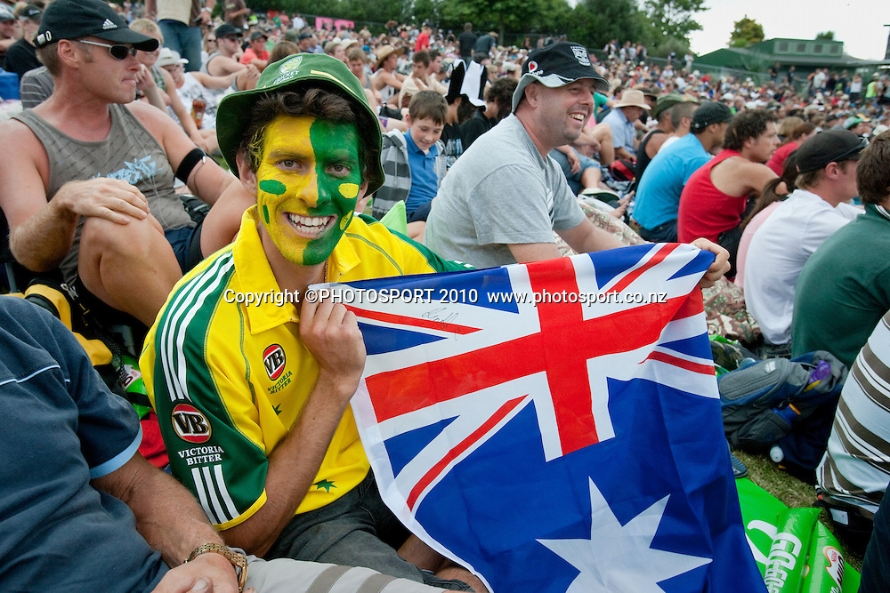 Australian fan with facepaint and flag in the crowd during the third one day Chappell Hadlee cricket series match between New Zealand Black Caps and Australia at Seddon Park, won by Australia by 6 wickets in Hamilton, New Zealand. Tuesday 9 March 2010. Photo: Stephen Barker/PHOTOSPORT