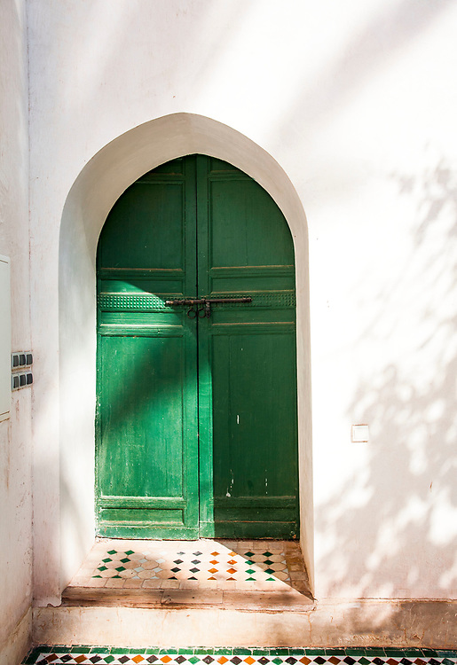 2016, Africa, Marrakech, Morroco, travel, door, architecture, green, step, tile, city