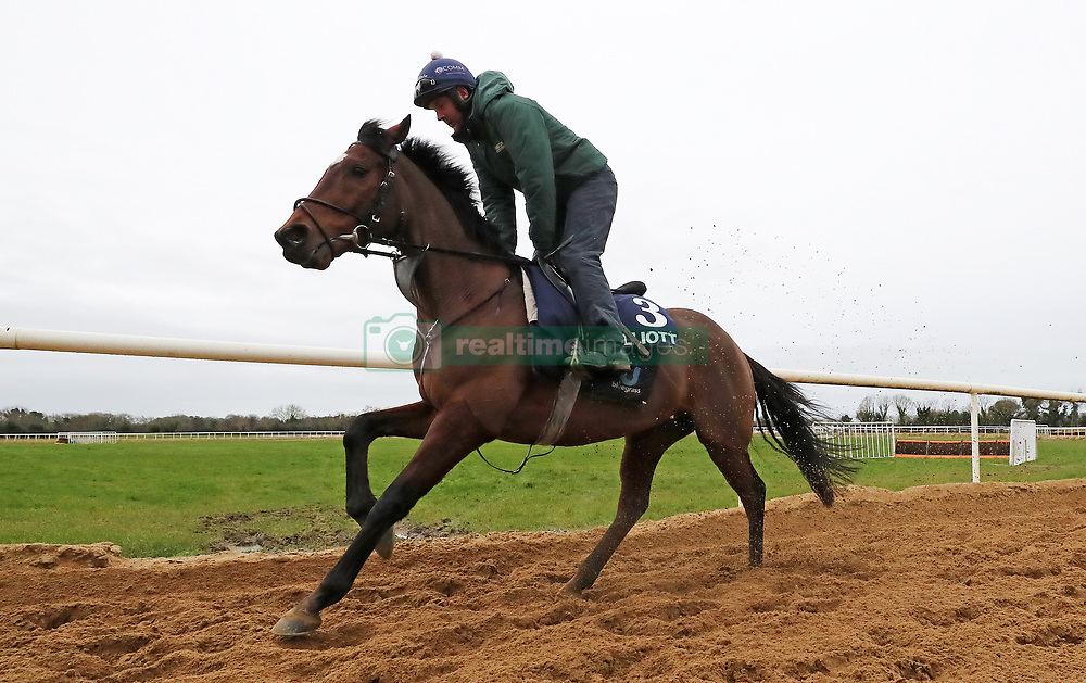 Tiger Roll and jockey Simon McGonagle on the gallops during the stable visit to Gordon Elliott's yard at Cullentra House, County Meath.