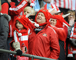 Sunderland fans at Wembley for the Capital One Cup final - Photo mandatory by-line: Dougie Allward/JMP - Tel: Mobile: 07966 386802 02/03/2014 - SPORT - FOOTBALL - London - Wembley Stadium - Manchester City v Sunderland - Capital One Cup Final