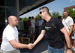 Sebastjan Ogris and Sandi Cebular of Slovenia Basketball national team at departure to Rogla before World Championship in Turkey, on July 10, 2010 at KZS, Ljubljana, Slovenia. (Photo by Vid Ponikvar / Sportida)