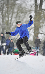 © Licensed to London News Pictures. 20 January 2013. Chipping Norton, Oxfordshire. Tom Burman (13). Fun in the snow at Chipping Norton. Photo credit : MarkHemsworth/LNP