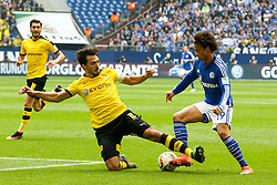 10.04.2016, Veltins Arena, Gelsenkirchen, GER, 1. FBL, Schalke 04 vs Borussia Dortmund, 29. Runde, im Bild Mats Hummels (#15, Borussia Dortmund) graetscht in Leroy Sane (#19, FC Schalke 04) // during the German Bundesliga 29th round match between Schalke 04 and Borussia Dortmund at the Veltins Arena in Gelsenkirchen, Germany on 2016/04/10. EXPA Pictures © 2016, PhotoCredit: EXPA/ Eibner-Pressefoto/ Deutzmann<br /> <br /> *****ATTENTION - OUT of GER*****