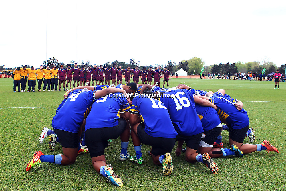 Otahuhu team before the opening whistle. New Zealand Secondary Schools National Rugby League Tournament, Grand Final, Otahuhu v St Pauls. Bruce Pulman Park, Auckland. 7 September 2012. Photo: William Booth/photosport.co.nz