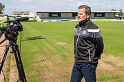 Manager Mark Cooper talking to the media after Charlie Cooper signing for Forest Green Rovers. Signing at the New Lawn, Forest Green, United Kingdom on 15 June 2017. Photo by Shane Healey.