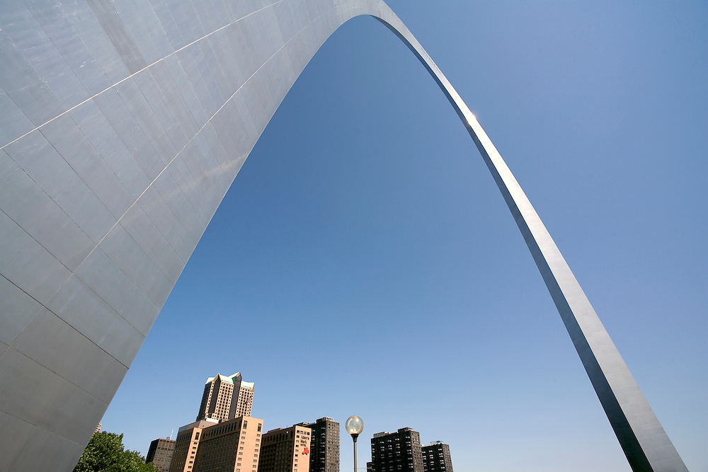 Gateway Arch appears to soar over the city skyline of St. Louis, Missouri.