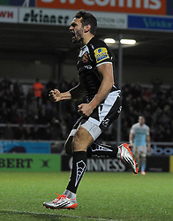Exeter Chiefs Phil Dolman celebrates his sides try  - Photo mandatory by-line: Harry Trump/JMP - Mobile: 07966 386802 - 14/02/15 - SPORT - Rugby - Aviva Premiership - Sandy Park, Exeter, England - Exeter Chiefs v Newcastle Falcons