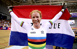 Netherland's Kirsten Wild celebrates after winning the Omnium IV Women 20KM Points Race during day five of the 2018 European Championships at the Sir Chris Hoy Velodrome, Glasgow.