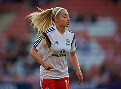SOUTHAMPTON, ENGLAND - Friday, April 6, 2018: Wales' Charlie Estcourt during the pre-match warm-up before the FIFA Women's World Cup 2019 Qualifying Round Group 1 match between England and Wales at St. Mary's Stadium. (Pic by David Rawcliffe/Propaganda)