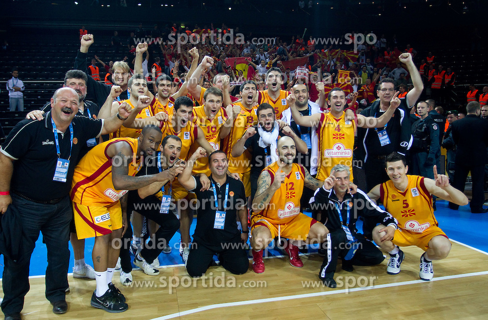 Players of Macedonia celebrate after the basketball game between National basketball teams of F.Y.R. of Macedonia and Lithuania at Quarterfinals of FIBA Europe Eurobasket Lithuania 2011, on September 14, 2011, in Arena Zalgirio, Kaunas, Lithuania. Macedonia defeated Lithuania 67-65. (Photo by Vid Ponikvar / Sportida)