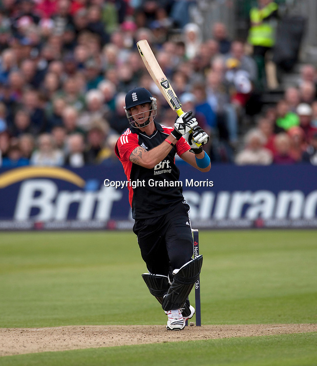 Kevin Pietersen bats during the T20 international between England and Sri Lanka at Bristol.  Photo: Graham Morris/photosport.co.nz