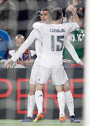 02.04.2016, Camp Nou, Barcelona, ESP, Primera Division, FC Barcelona vs Real Madrid, 31. Runde, im Bild Real Madrid's Cristiano Ronaldo (l) and Daniel Carvajal celebrate goal // during the Spanish Primera Division 31th round match between Athletic Club and Real Madrid at the Camp Nou in Barcelona, Spain on 2016/04/02. EXPA Pictures © 2016, PhotoCredit: EXPA/ Alterphotos/ Acero<br /> <br /> *****ATTENTION - OUT of ESP, SUI*****
