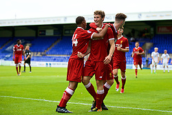 BIRKENHEAD, ENGLAND - Sunday, August 20, 2017: Liverpool's Matty Virtue celebrates scoring the first goal with team-mates Rhian Brewster [L] and captain Corey Whelan [R] during the Under-23 FA Premier League 2 Division 1 match between Liverpool and Sunderland at Prenton Park. (Pic by David Rawcliffe/Propaganda)