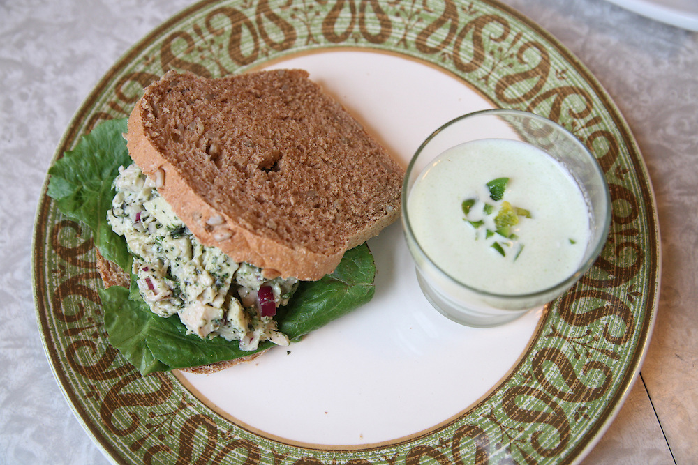Bill and Kim prepared this chicken salad sandwich and cucumber soup almost entirely with locally sourced ingredients. Photographed for the Virginia Sustainable Agriculture Documentary Project. www.vasadp.org