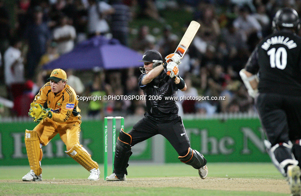 NZ batsman Brendon Mccullum hits out during the 3rd Chappell Hadlee one day match at Seddon Park, Hamilton, New Zealand on Tuesday 20 February 2007. Photo: Andrew Cornaga/PHOTOSPORT<br /><br /><br />200207