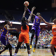 UNCASVILLE, CONNECTICUT- JULY 15:  Essence Carson #17 of the Los Angeles Sparks drives to the basket defended by Chiney Ogwumike #13 of the Connecticut Sun during the Los Angeles Sparks Vs Connecticut Sun, WNBA regular season game at Mohegan Sun Arena on July 15, 2016 in Uncasville, Connecticut. (Photo by Tim Clayton/Corbis via Getty Images)