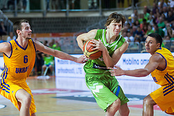 Jaka Klobucar of Slovenia during friendly basketball match between National teams of Slovenia and Ukraine at day 1 of Adecco Cup 2015, on August 21 in Koper, Slovenia. Photo by Grega Valancic / Sportida