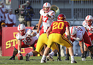 November 06 2010: Nebraska Cornhuskers quarterback Cody Green (17) points to the defense during the first half of the NCAA football game between the Nebraska Cornhuskers and the Iowa State Cyclones at Jack Trice Stadium in Ames, Iowa on Saturday November 6, 2010. Nebraska defeated Iowa State 31-30.