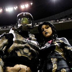 October 23, 2011; New Orleans, LA, USA; New Orleans Saints fans in costume prior to kickoff of a game between the New Orleans Saints and the Indianapolis Colts at the Mercedes-Benz Superdome. Mandatory Credit: Derick E. Hingle-US PRESSWIRE / © Derick E. Hingle 2011