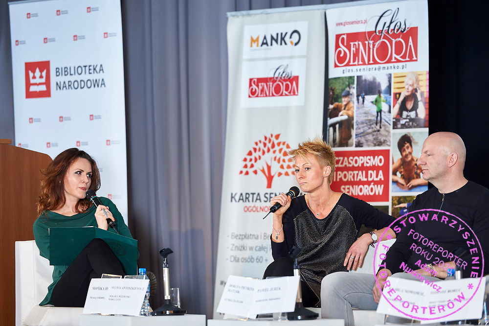 Warsaw, Poland - 2017 April 07: (L-R) Monika Holdak - advertising strategist, trend analyst and Kamila Nowowiejska - instructor and fitness coach and Pawel Jurek - scriptwriter and athlete attend in The Day of Health - science conference in the National Library on April 07, 2017 in Warsaw, Poland.<br /> <br /> Mandatory credit:<br /> Photo by © © Adam Nurkiewicz / Mediasport / Mediasport<br /> <br /> Picture also available in RAW (NEF) or TIFF format on special request.<br /> <br /> Any editorial, commercial or promotional use requires written permission from the author of image.<br /> <br /> Adam Nurkiewicz declares that he has no rights to the image of people at the photographs of his authorship.