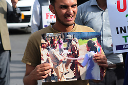 May 6, 2017 - Islamabad, Federal Capital, Pakistan - A Pakistani supporter of All Parties Hurriyat Conference chants anti-Indian slogans outside the Press Club in Islamabad. Protesters gathered to express solidarity with Kashmiris who are resisting Indian rule. (Credit Image: © Zubbair Abbasi/Pacific Press via ZUMA Wire)