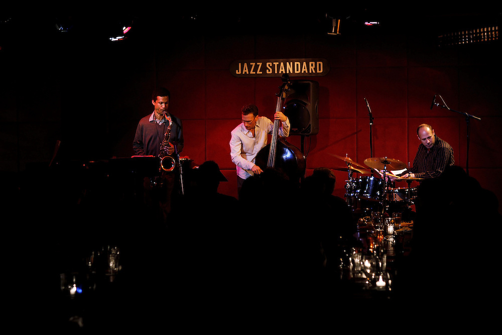 (L-R) Saxophonist Mark Turner, Bassist Larry Grenadier and Drummer Jeff Ballard of FLY perform at Jazz Standard on April 9,  2009 in New York City. photo by Joe Kohen for The New York Times