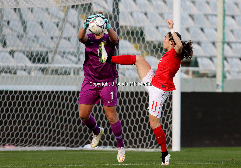Fifa Womans World Cup Canada 2015 - Preview //<br /> Cyprus Cup 2015 Tournament ( Gsp Stadium Nicosia - Cyprus ) - <br /> Australia vs England 0-3   // Karen Carney of England (R) , challenges with Brianna Davey of Australia (L)