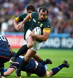 Bismarck Du Plessis of South Africa takes on the USA defence - Mandatory byline: Patrick Khachfe/JMP - 07966 386802 - 07/10/2015 - RUGBY UNION - The Stadium, Queen Elizabeth Olympic Park - London, England - South Africa v USA - Rugby World Cup 2015 Pool B.