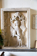 14th century carved stone panel representing the angel Gabriel, church of Saint Andrew, Etchilhampton, Wiltshire, England, UK