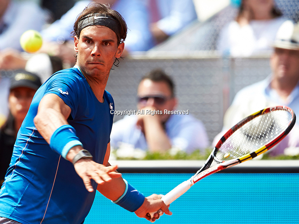 08.05.2014 Madrid, Spain. Rafael Nadal of Spain follows the ball during the game with Jarkko Nieminen of Finland on day 5 of the Madrid Open from La Caja Magica.