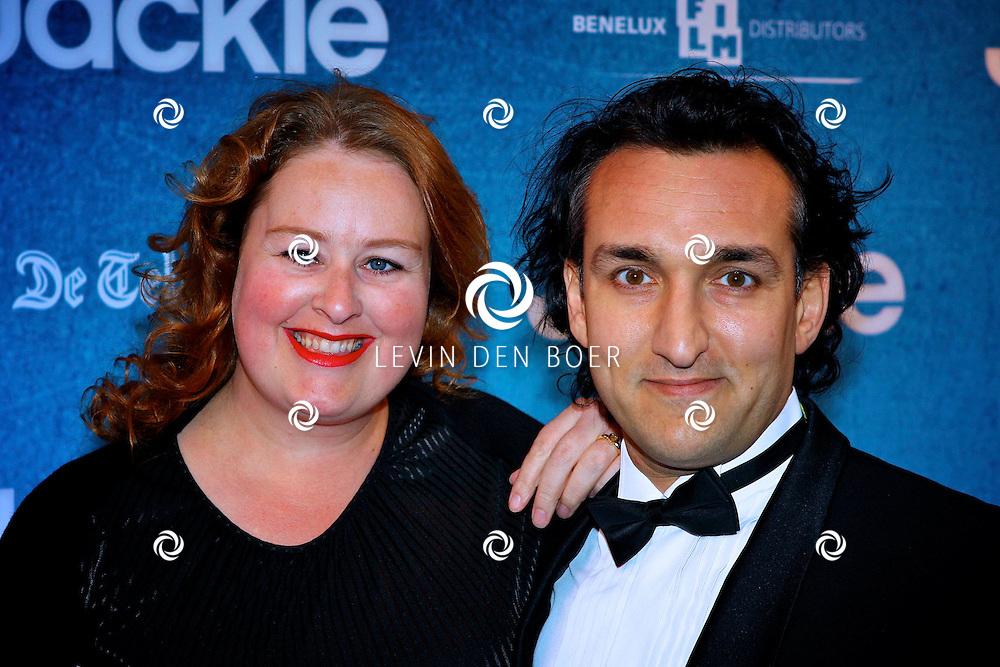 AMSTERDAM - In DeLaMar theater is de filmpremiere van Jackie.  Met op de foto Eva van der Gucht en haar partner. FOTO LEVIN DEN BOER - PERSFOTO.NU